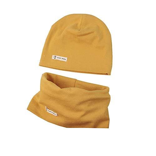 Kindermuts sjaal set, casue herfst winter baby kinderen beanie muts hoed warm loop sjaal set effen zachte katoen muts ronde sjaal nekwarmer halsband halsdoek set
