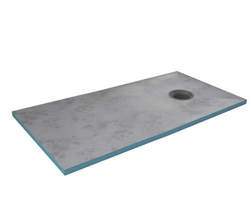 MARWELL Duschelement 90x160x4 cm, befliesbar, mit integriertem rundem Ablauf grau