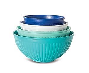 Mixing Bowl Set, 4-pc, Set of 4, Coastal Colors
