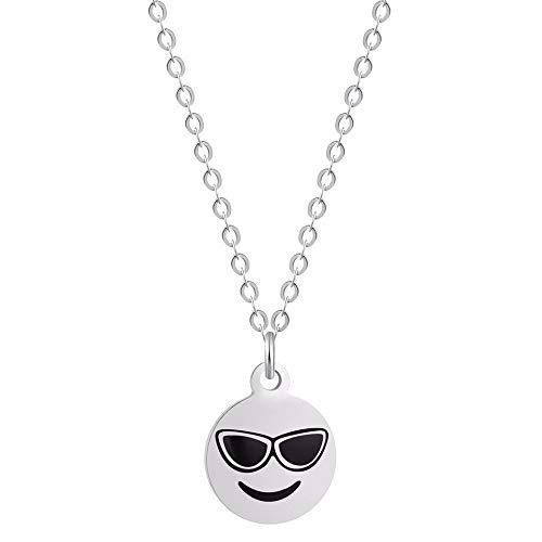 Lady Bling Bling Damen Halskette mit Anhänger aus Edelstahl mit Emaille Emoticon Smiley Affe Kackhaufen inkl. Etui (Smiley Sonnenbrille, Silber)