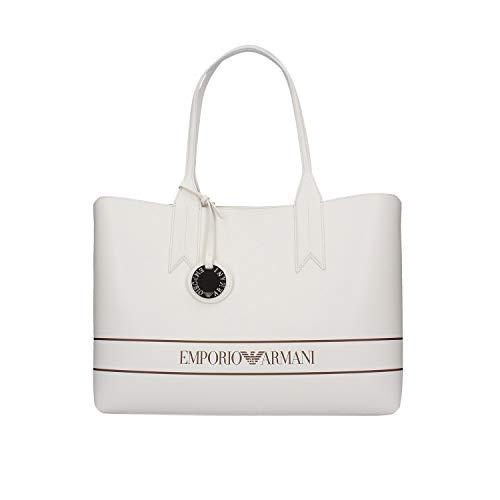 Emporio Armani Damen Large Logo Band Tote Bag Tragetasche, Weiß/Nude/Leder, Einheitsgröße