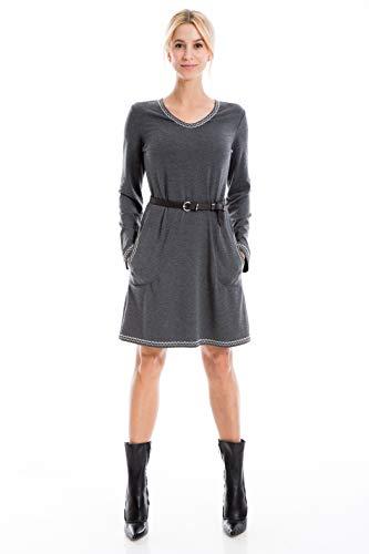 Max Studio Women's Long Sleeve Belted Dress, Heather Charcoal, Medium