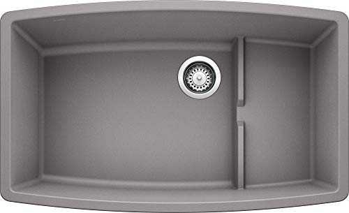 BLANCO, Metallic Gray 440067 PERFORMA CASCADE SILGRANIT Undermount Kitchen Sink with Colander