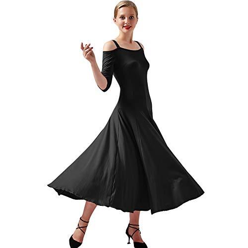 YUMEIREN - Vestido de baile con hombros descubiertos para baile moderno, Mujer, color negro, tamaño xx-large