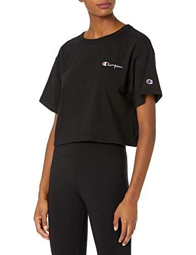 Champion Life Crop Tee T-Shirt, Nero, L Donna