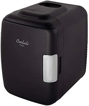 Cooluli Classic Black 4 Liter Compact Cooler Warmer Mini Nevera con alimentación AC/DC/USB – Ideal para dormitorio, oficina, coche, dormitorio – Maquillaje portátil para el cuidado de la piel