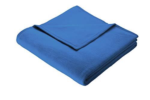 Biederlack Wohn- und Kuscheldecke, 100 % Baumwolle, Samtband-Einfassung, 150 x 200 cm, Blau, Cotton Pure, 239725