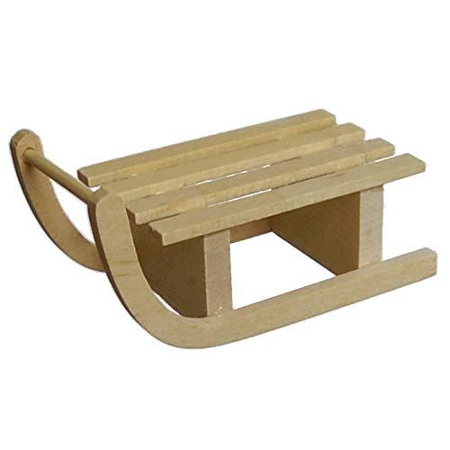 CREATIV DISCOUNT ® Miniatur Schlitten aus Holz, ca. 6,5cm