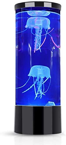 BWHTY Lámpara de Medusas LED Mini Escritorio Fantasía Tanque de Medusas Luz de Acuario con Efectos de luz Que cambian de Color Regalo de Oficina en casa