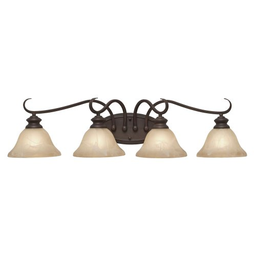 Golden Lighting 6005-BA4 RBZ Lancaster Bath Fixture, 34-Inch W by 8-Inch H by 8-Inch Ext, Rubbed Bronze