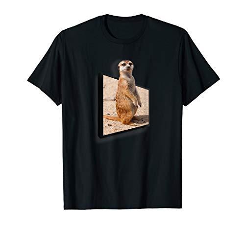 Neugieriges Erdmännchen - lustiges 3D Effekt Tier Shirt