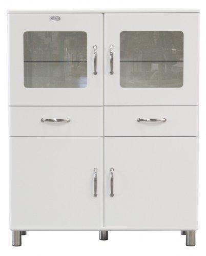 Vitrine Tenzo Malibu 120 cm mit 4 Türen & 2 Schubladen MDF Weiß Matt