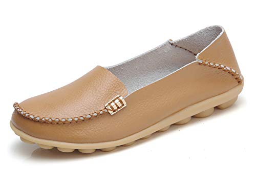 VenusCelia Women's Natural Comfort Walking Flat Loafer(36,Tan)