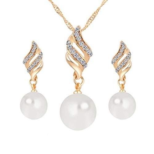 #N/A Figutsga - Collar con colgante de perlas de imitación para mujer, diseño de espiral, color dorado