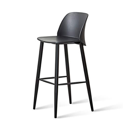 ☀ JBD Chaise de Bar créative Simple comptoir de Mode Tabouret Haut sur Pieds Style Moderne Designer Dossier Siège Café Ménage (Couleur : Noir)