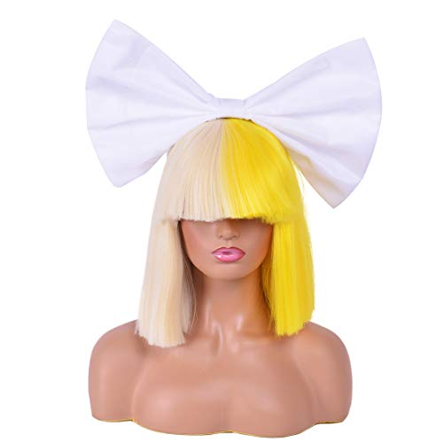 OFFICIALLY LICENSED Sia Costume Cosplay Wig Half Blonde Half Yellow Wigs 2-Tone Dyed Short Straight Bob Wig Synthetic Full Wigs with Big White Bow for Halloween