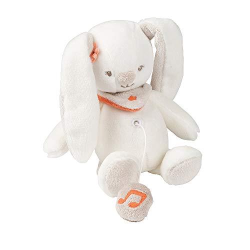 Nattou Mini Peluche musical de la Conejita Mia, Mia y Basile, 21 x 12 x 7 cm, Blanco