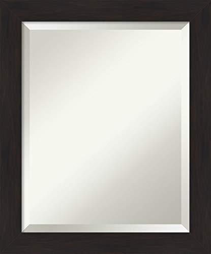 Framed Vanity Mirror | Bathroom Mirrors for Wall | Furniture Espresso Narrow Mirror | Wall Mounted Mirror | Small Mirror | 23.50 x 19.50 in.