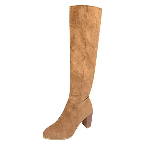 Logobeing Botas Mujer Roma Rebajas Elegantes Cremallera Grande Tallas Gruesas Tacones Altos Botas hasta La Rodilla Zapatos