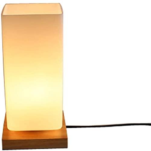HKAFD Lámpara de escritorio, lámpara de mesa industrial de cristal blanco rectangular sombra y base de madera luz de noche 1 luz decorativa