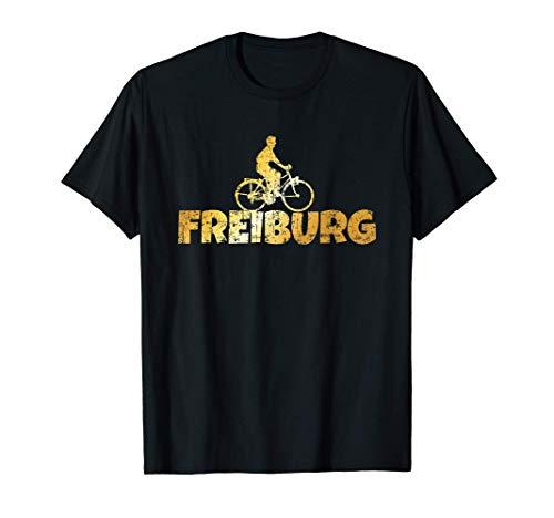Herren Freiburg Fahrrad (Vintage Gelb) Fahrradfahrer T-Shirt