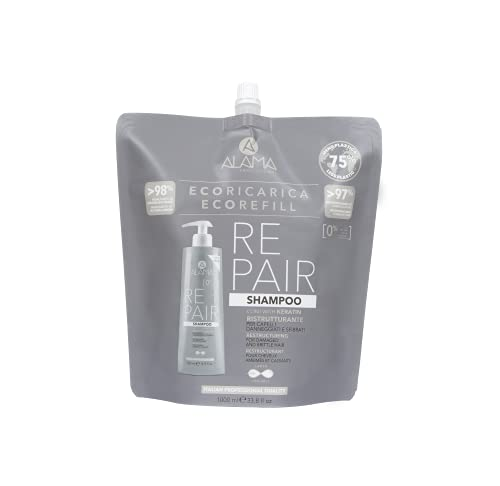 Alama professional Eco Refill Repair Shampoo Ristrutturante Per Capelli Fragili E Sfibrati, Grigio
