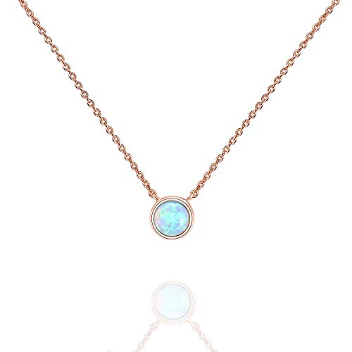 PAVOI 14K Gold Plated Round Created Opal Necklace