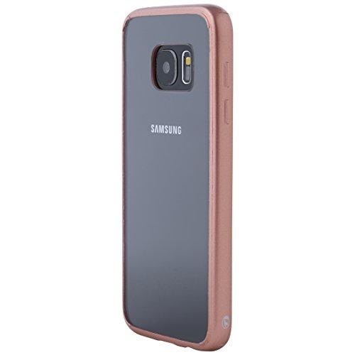 Ultratec Funda protectora híbrida para smartphone / carcasa con borde de TPU de color para Samsung S7, con funda con cremallera, transparente/oro rosa