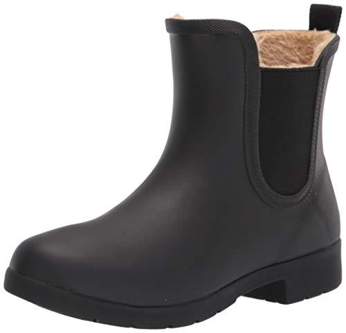 Chooka Women's Waterproof Plush Chelsea Bootie Rain Boot, Eastlake Black, 10