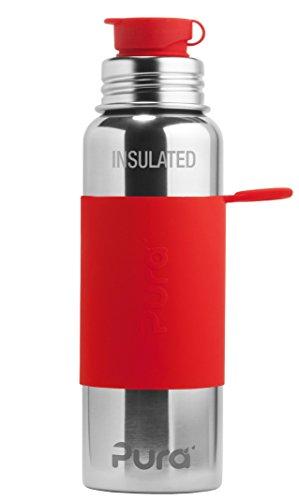 Pura Sport Edelstahl isolierte Sportflasche mit Silikon Sleeve und Big Mouth Sport Trinkverschluss 650 ml, plastikfrei Rot