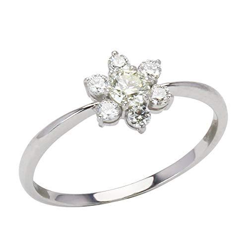 真珠の杜 K18 ホワイトゴールド ダイヤモンドリング フラワーモチーフ リング 合計0.30ct 花 可愛い レディース ダイヤ プレゼント 10号