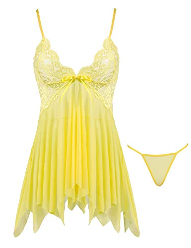 Joyaria Women's Sexy Sheer Lingerie Set Lace Babydoll Outfits Mesh Nighties (Yellow, Medium)