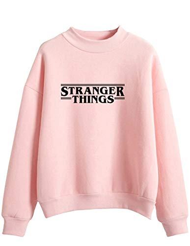 Stranger Things Felpa per Donna Uomo,Stranger Things Friends Don't Lie Abbigliamento Sportivo Hoodie Pullover Tinta Unita Manica Lunga per Ragazza Ragazzo (Rosa,M)