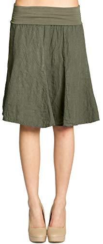 CASPAR Fashion Caspar RO014 Damen Leinenrock mit figurfreundlichem Stretch Bund, Farbe:Oliv grün, Größe:S-M