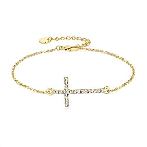 Joeyan Pulsera de Cruz Cristal Pulseras de Cadena Oro Mujer