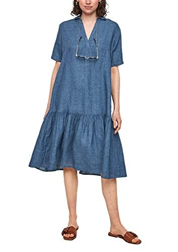 s.Oliver Damen Stufenkleid aus purem Leinen faded blue melange 40