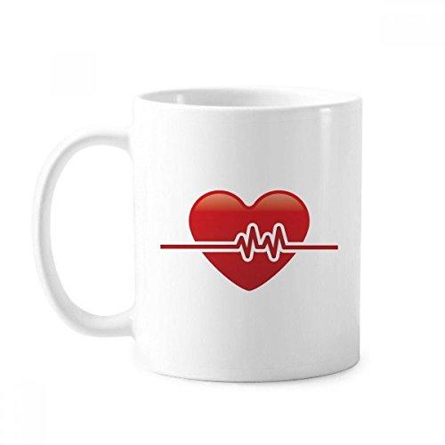 Taza de cerámica con diseño de electrocardiograma en forma de corazón
