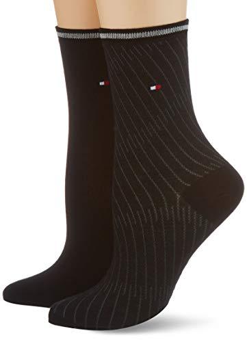 Tommy Hilfiger Womens Bias Open Stripe Women\'s Short (2 Pack) Socks, Black, 39/42