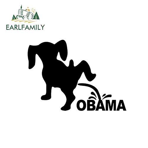 BJDKF 16cm x 11,5cm Spaß USA Auto Aufkleber Hund pinkeln Pissen auf Anti-Obama JDM Label Vinyl Aufkleber für LKW Auto Fenster Stoßstange Laptop schwarz