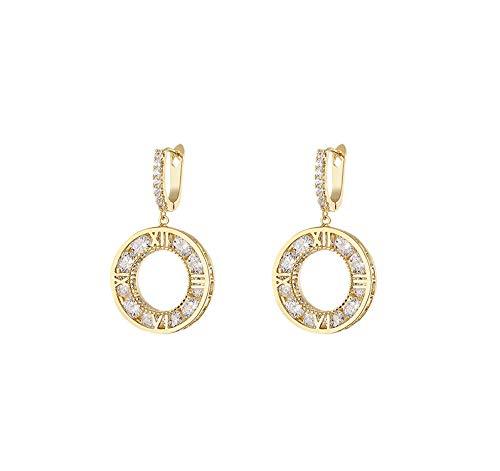 Haespsd Romeinse cijfers oorbellen 14k vergulde kristallen ring oorbellen oorbellen cadeau