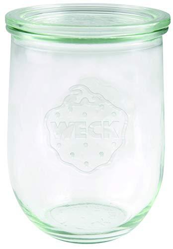 Weck Tulpenglas 1 l (Hochwertiges Einweck, Einmach Glas mit Glasdeckel; zum Einkochen; Hitzebeständig; Mikrowellengeeignet; Backofengeeignet; Rundrandglas) 745, 6 Stück