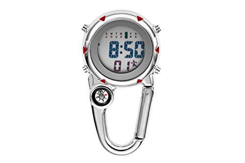 Aceshop Carabiner Watch Clip on Carabiner FOB Watch Multifunctional Clip Quartz Watch Luminous Face FOB Digital Watch with Compass for Doctors Nurses or Outdoor Rock Climbing Activities