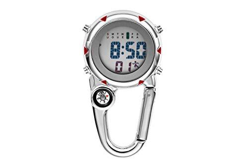Aceshop Unisex-Uhr, Karabiner-Armbanduhr Digitale Uhr zum Anklippen mit Kompass, Karabiner und Leuchtendem Zifferblatt FOB Uhr für Ärzte, Krankenschwestern oder Kletteraktivitäten im Freien