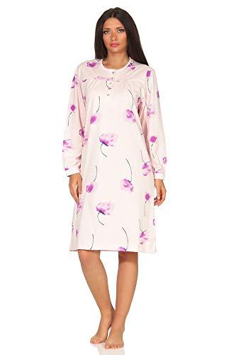 NORMANN WÄSCHEFABRIK Elegantes Damen Nachthemd mit 105 cm Länge und Kopfleiste am Hals - 291 210 90 193, Farbe:rosa, Größe2:52/54