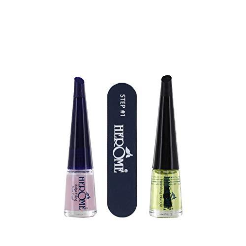 Herome Maniküre Set (Nail Essentials) für Nägel - 1 set - Set mit Pflegende Nagelöl, Rillenfüller und Feile - Repariert Trockene, Gerillte Nägel (Gelb)