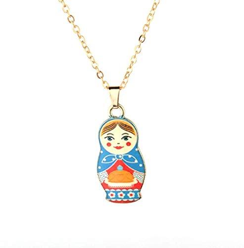 MNJKH Halskette Mode Emaille Puppen Anhänger Halskette Matroschka Puppe Choker Halsketten für Damen Schmuck Mädchen Geschenk