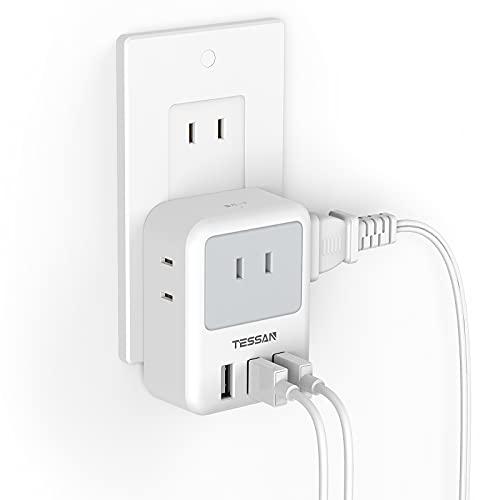 USB コンセント タップ TESSAN 電源タップ 雷ガード付 3個AC口 3つUSBポート たこあしコンセント 分岐 充電タップ マルチタップ 直挿しタップ 自宅用 旅行に