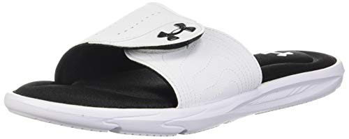 Under Armour Women's Ignite IX SL Slide Sandal, White (100)/Black, 9 M US