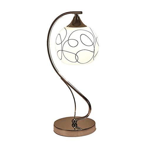 YNHNI Minimalista Moderna lámpara de Mesa Pantalla de Cristal Hierro Farola Lámpara de Mesa de Habitación Sala Oficina Regalo,Pequeña