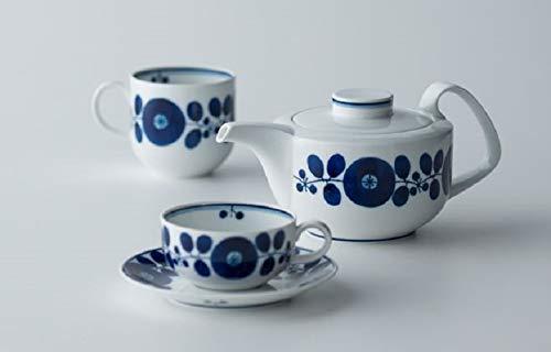 白山陶器コーヒーカップとソーサー青ブルーム200ml約7.5×6cm14.5×2cm波佐見焼日本製